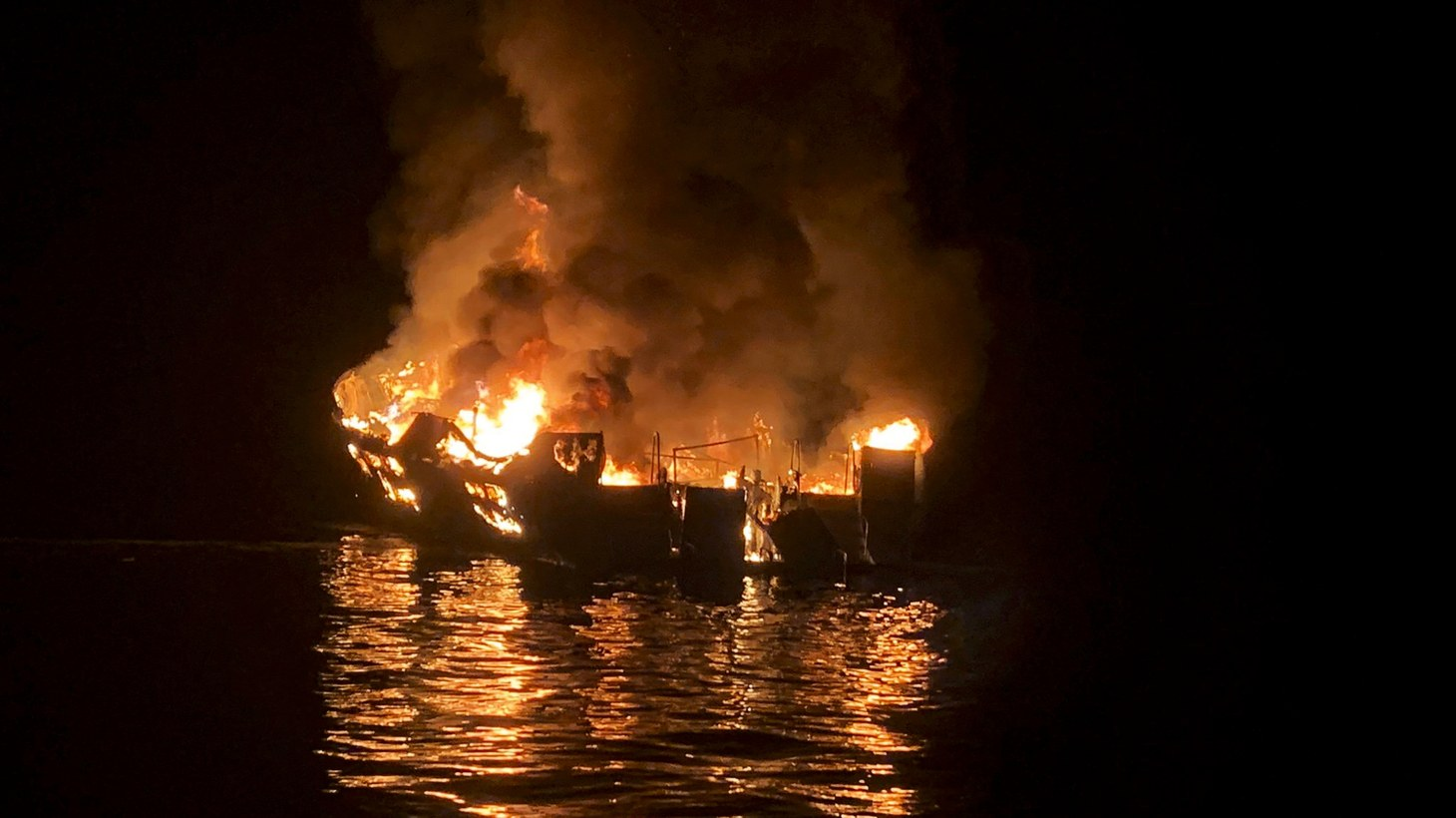 The diving boat MV Conception burns off the coast of Santa Cruz island, California.