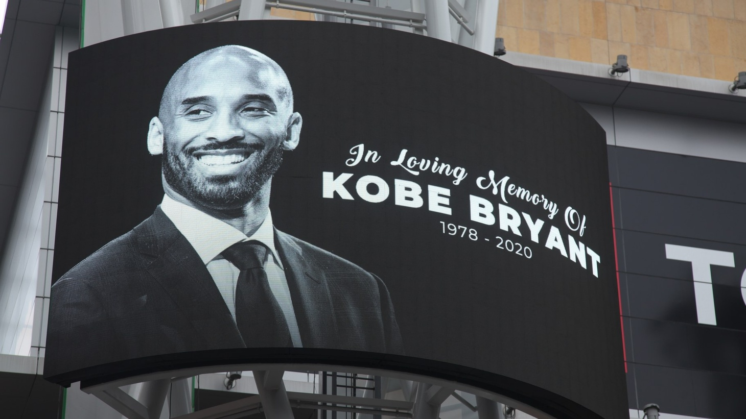 Digital billboards commemorated Kobe Bryant at his vigil at LA Live on Sunday, Jan. 26, 2020.