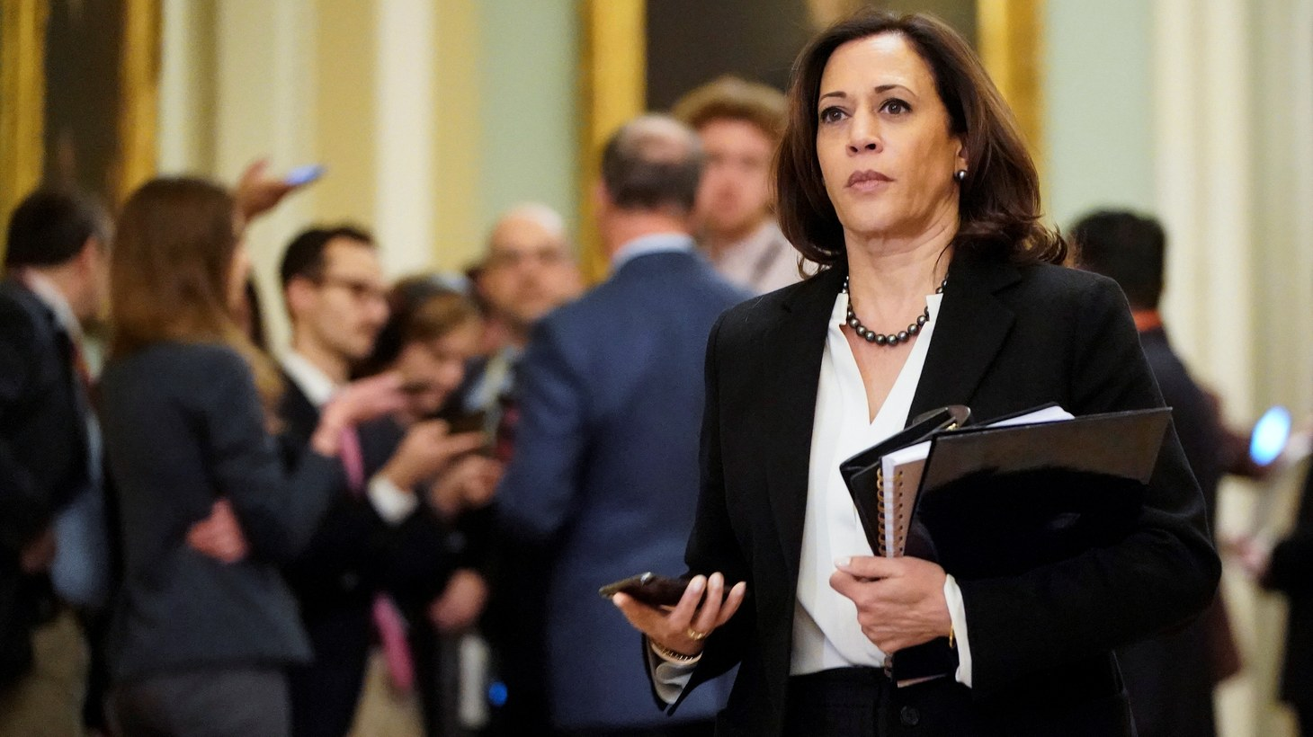 Senator Kamala Harris (D-CA) walks during a break in the impeachment trial of U.S. President Donald Trump continues in Washington, U.S., January 24, 2020.