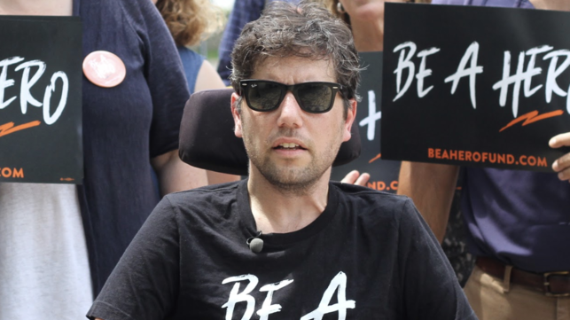 "Activist Ady Barkan during the ""Summer of Heroes"" bus tour, August 2019."