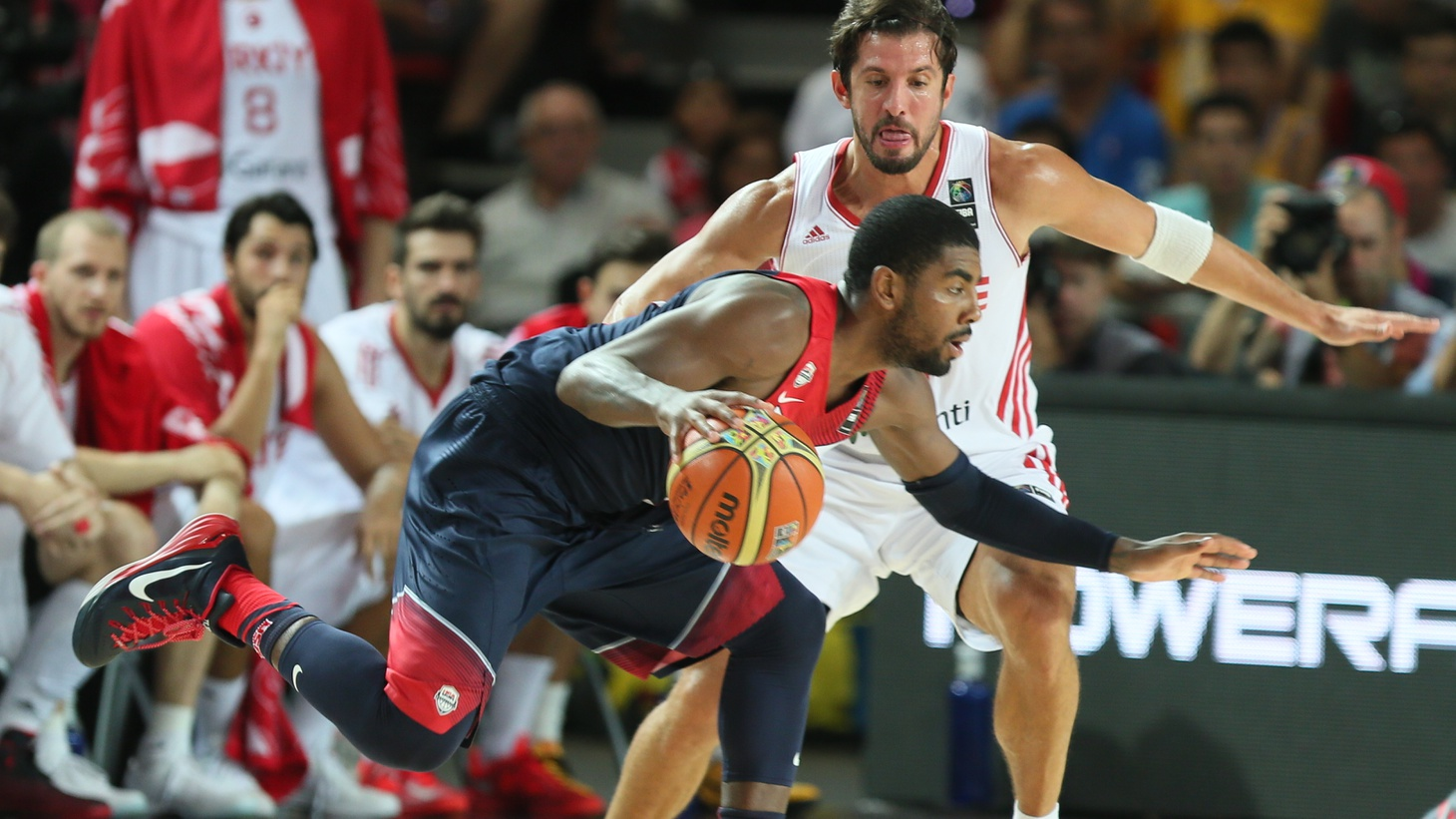 Brooklyn Nets player Kyrie Irving plays in the FIBA World Basketball Championship in Turkey, 2014.