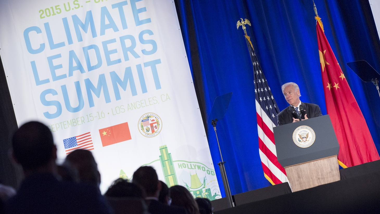 Joe Biden speaks at the closing session of the US-China Climate Leaders Summit in Los Angeles, California September 16, 2015.