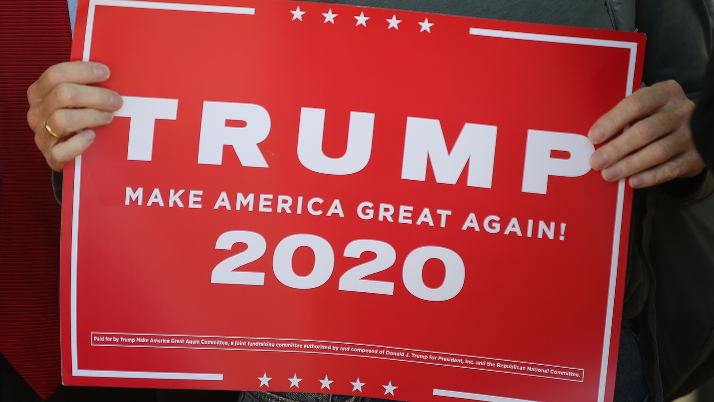 A placard is on display during a rally supporting US President Donald Trump outside the Republican National Committee building. Trump's campaign office claims numerous cases of election fraud in a number of states. November 6, 2020, Washington D.C., United States.