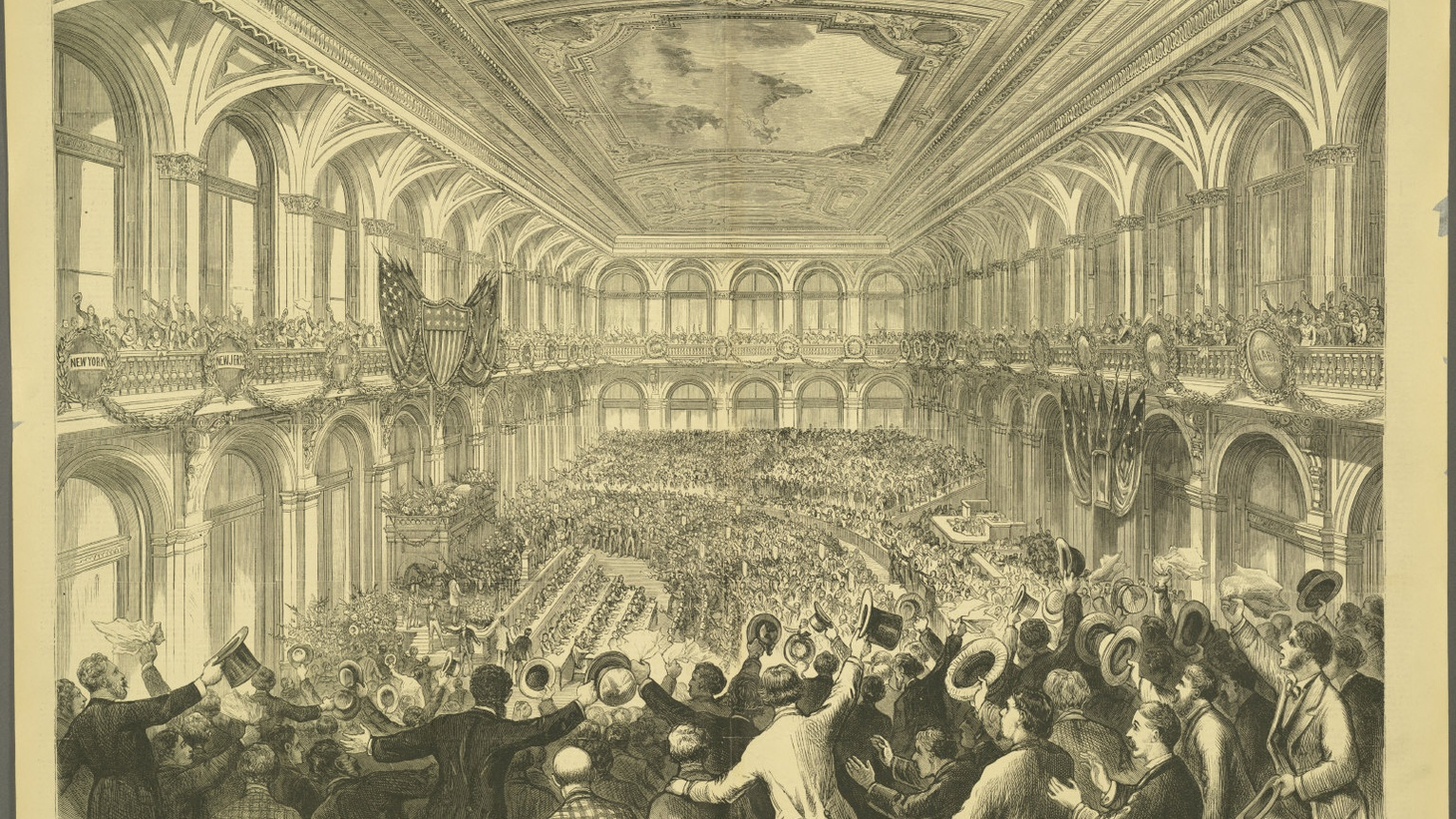 The interior of the Merchants Exchange Building of St. Louis, Missouri, during the announcement of Samuel J. Tilden as the Democratic presidential nominee in the 1876 election. After a highly controversial race, the victory ultimately went to Republican Rutherford B. Hayes.