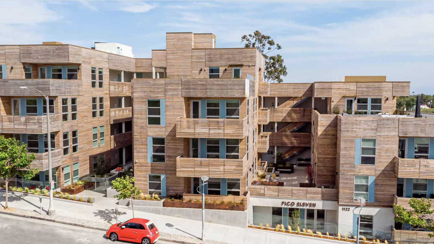 Some new housing designs might include balconies, more green space, and more open space. Pico Eleven apartments in Santa Monica, completed in 2018, is an example of housing with lots of open space.