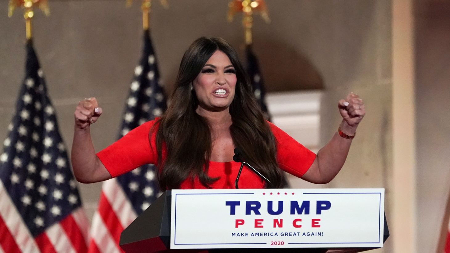 "Kimberly Guilfoyle, the National Chair of the ""Trump Victory Finance Committee"" and girlfriend of Donald Trump Jr., delivers a pre-recorded speech to the largely virtual 2020 Republican National Convention, from Washington, U.S., August 24, 2020."