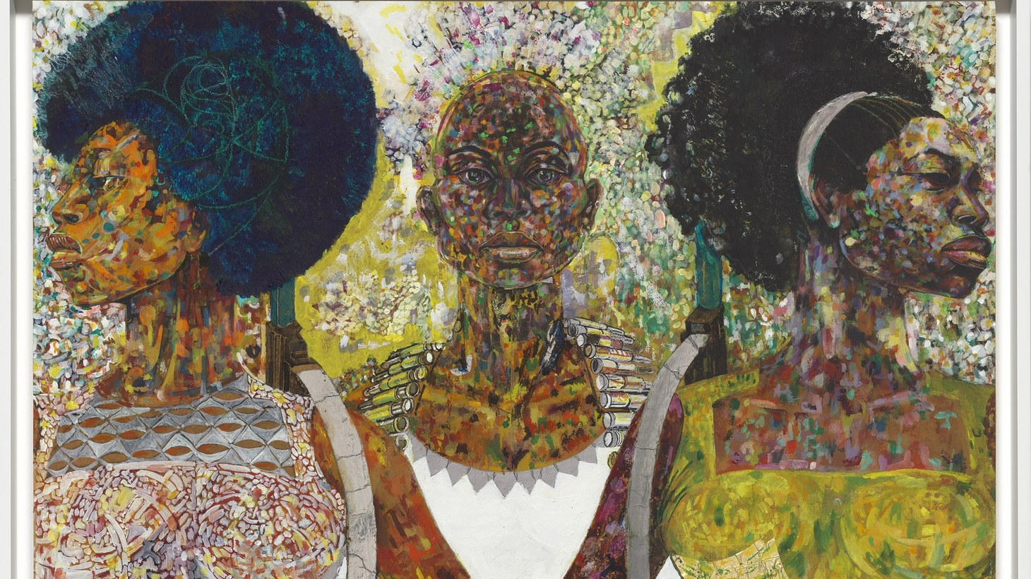 Jeff Donaldson, Wives of Sango, 1971. Paint, foil and ink on cardboard. 36 1/4 x 25 9/16 in. Collection of the Smithsonian National Museum of African American History and Culture.