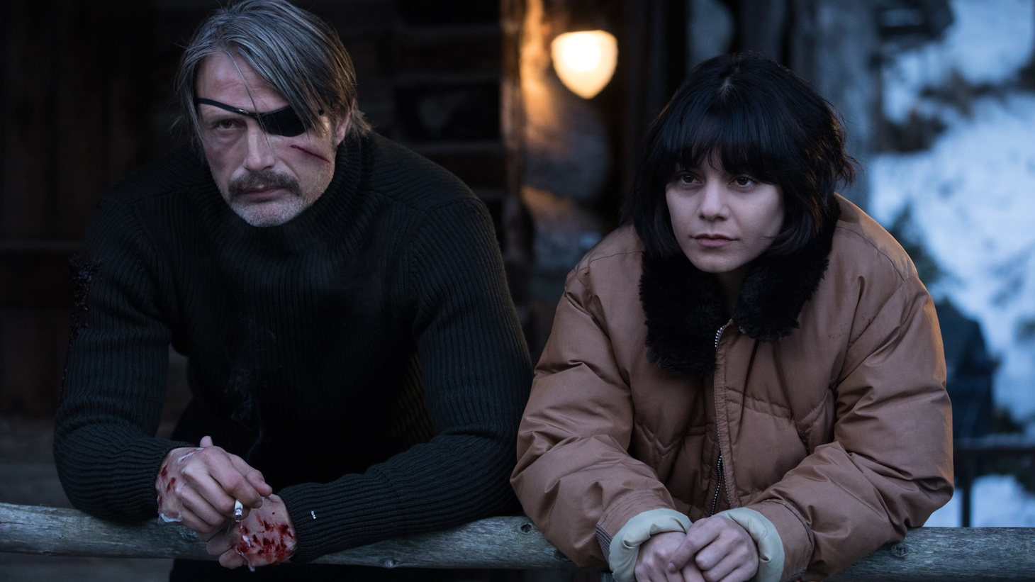 "Mads Mikkelsen and Vanessa Hudgens in ""Polar."""