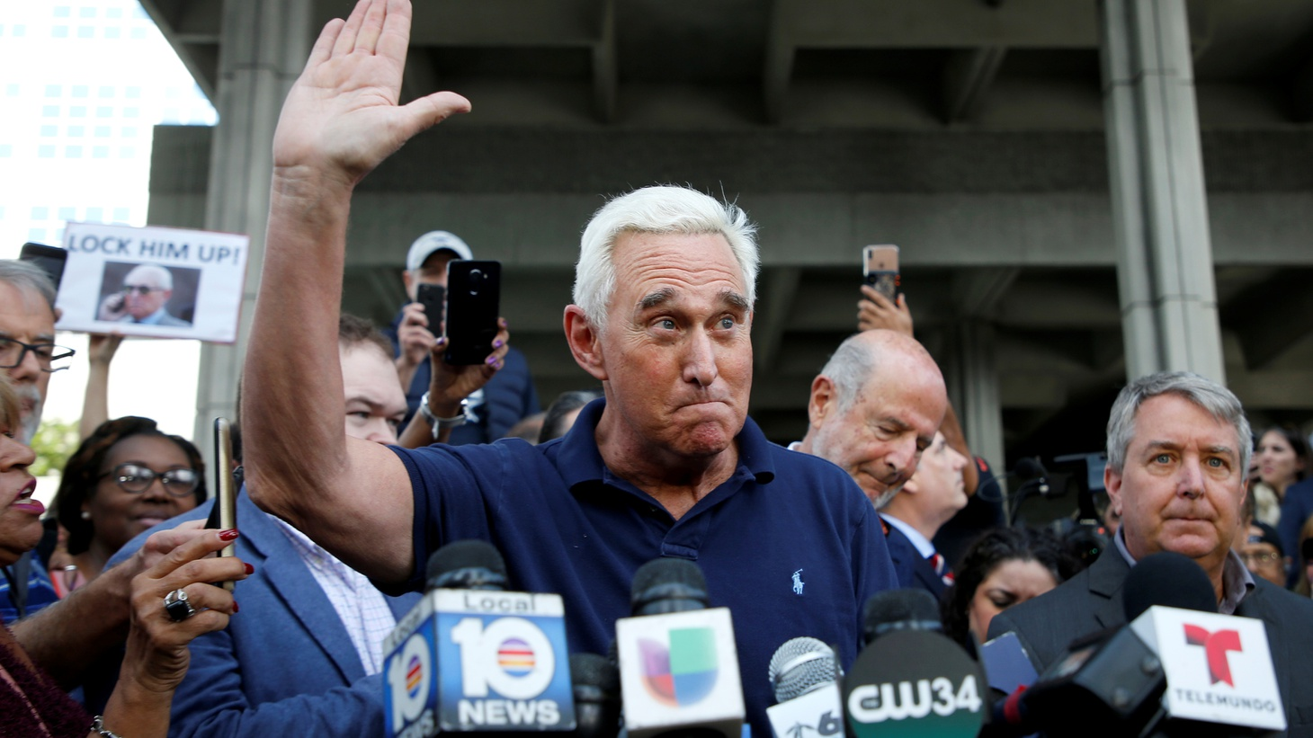 Roger Stone speaks after his appearance at Federal Court in Fort Lauderdale, Florida, U.S., January 25, 2019.