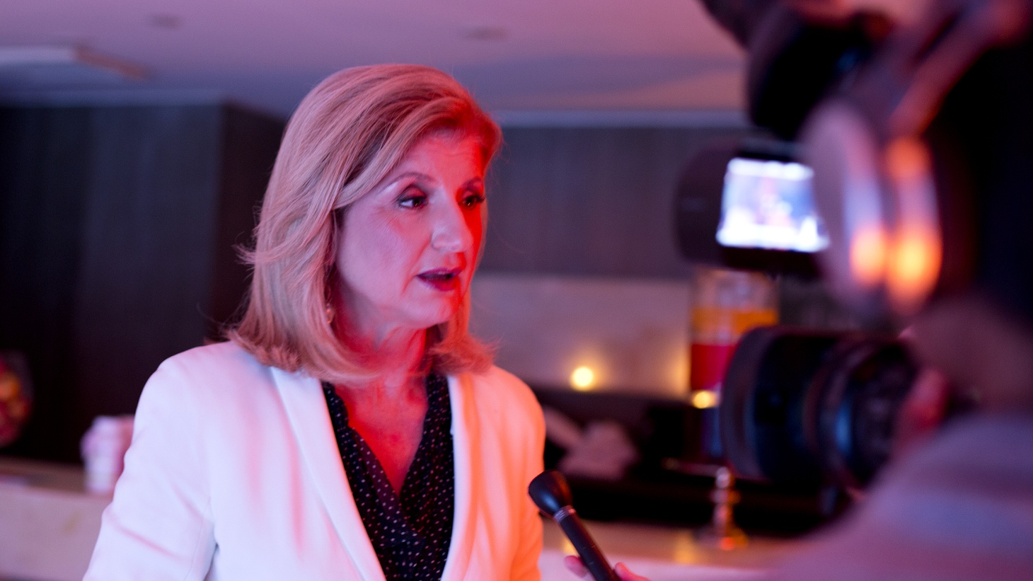 Arianna Huffington, founder of the Huffington Post, gives an interview to PBS NewsHour's political editor Christina Bellantoni on August 30, 2012