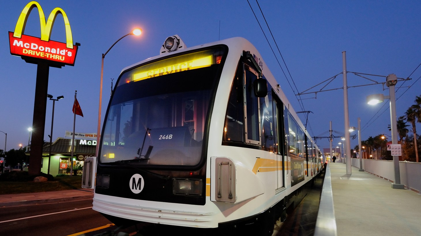 An out-of-service Gold Line train stationed at the Atlantic station in Los Angeles.