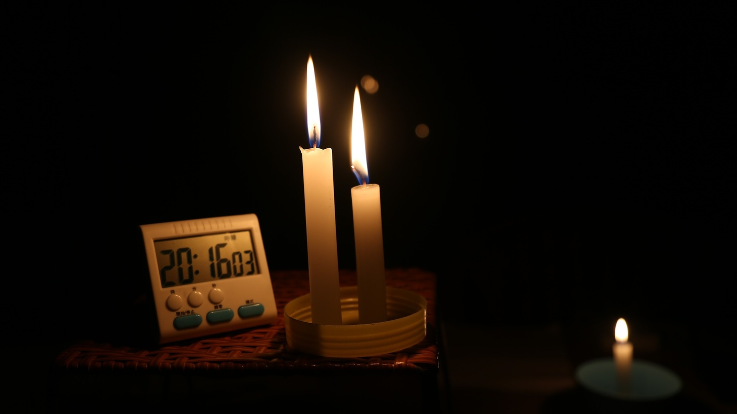 Candles during a power outage.