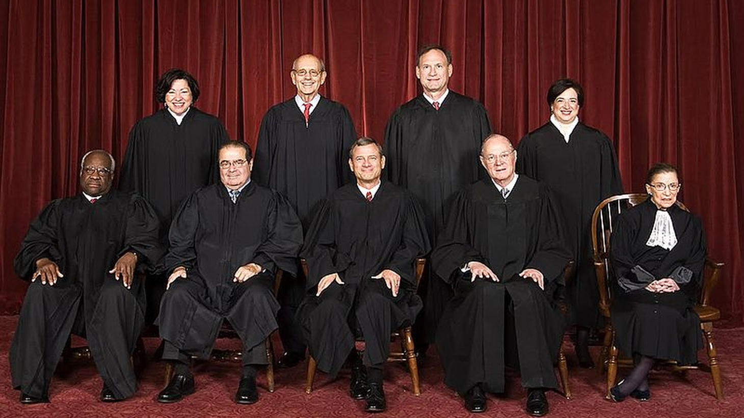 The U.S. Supreme Court in 2010. Top row (left to right): Sonia Sotomayor, Stephen G. Breyer, Samuel A. Alito, and Elena Kagan. Bottom row (left to right): Clarence Thomas, Antonin Scalia, John G. Roberts, Anthony Kennedy, and Ruth Bader Ginsburg.