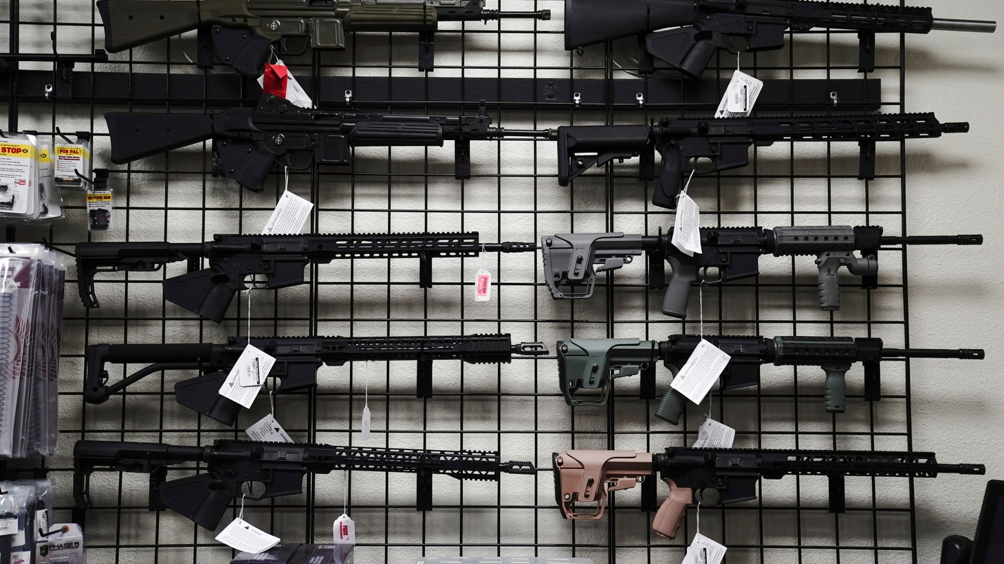 AR-15 style rifles are displayed for sale at Firearms Unknown, a gun store in Oceanside, California, U.S., April 12, 2021.