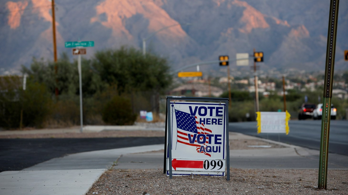 A sign directs voters to a polling station on Election Day in Tucson, Arizona, U.S. November 3, 2020.