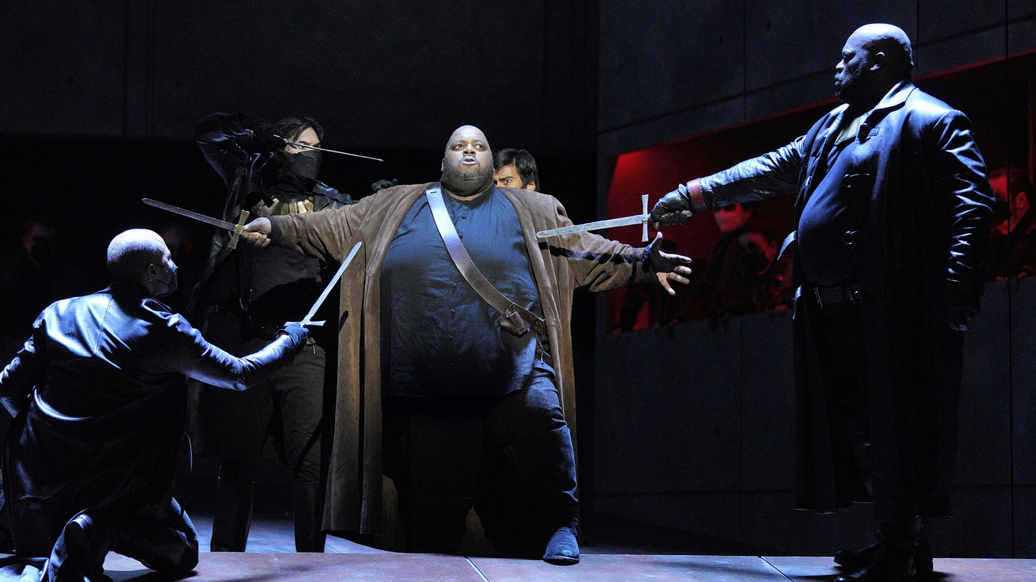 """Live performances have returned to the LA Opera, welcoming back fans with Giuseppe Verdi's """"Il Trovatore."""" Tenor Limmie Pulliam (center) plays Manrico in the production."""