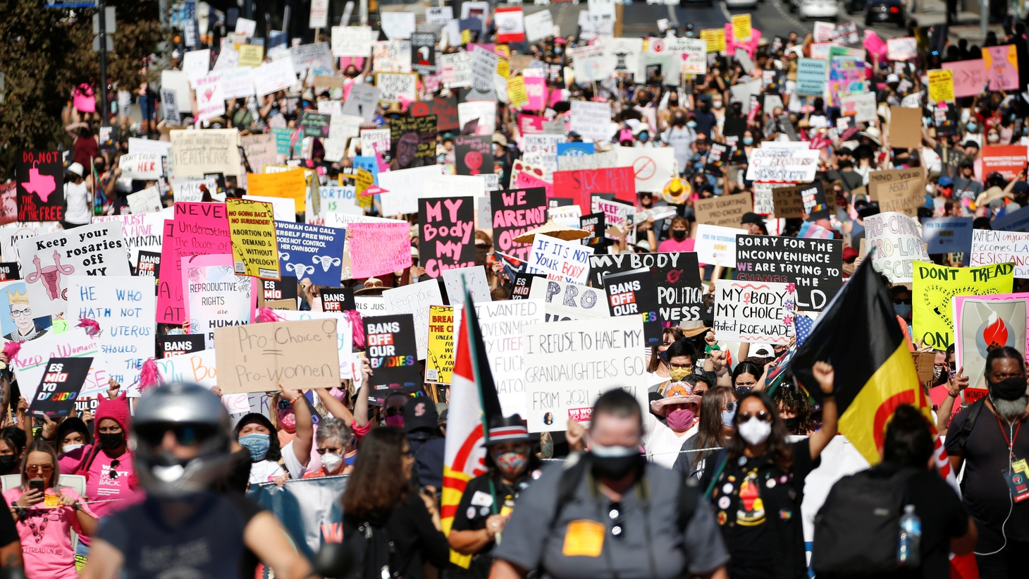 Supporters of reproductive choice take part in the nationwide Women's March, held after Texas rolled out a near-total ban on abortion procedures and access to abortion-inducing medications, in Los Angeles, California, U.S. October 2, 2021.