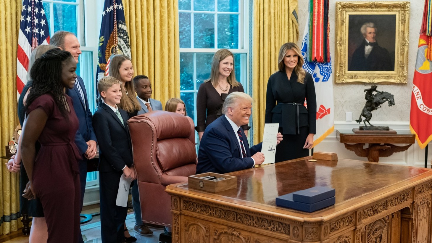 Amy Coney Barrett and her family with President Donald Trump and First Lady Melania Trump, September 26, 2020.