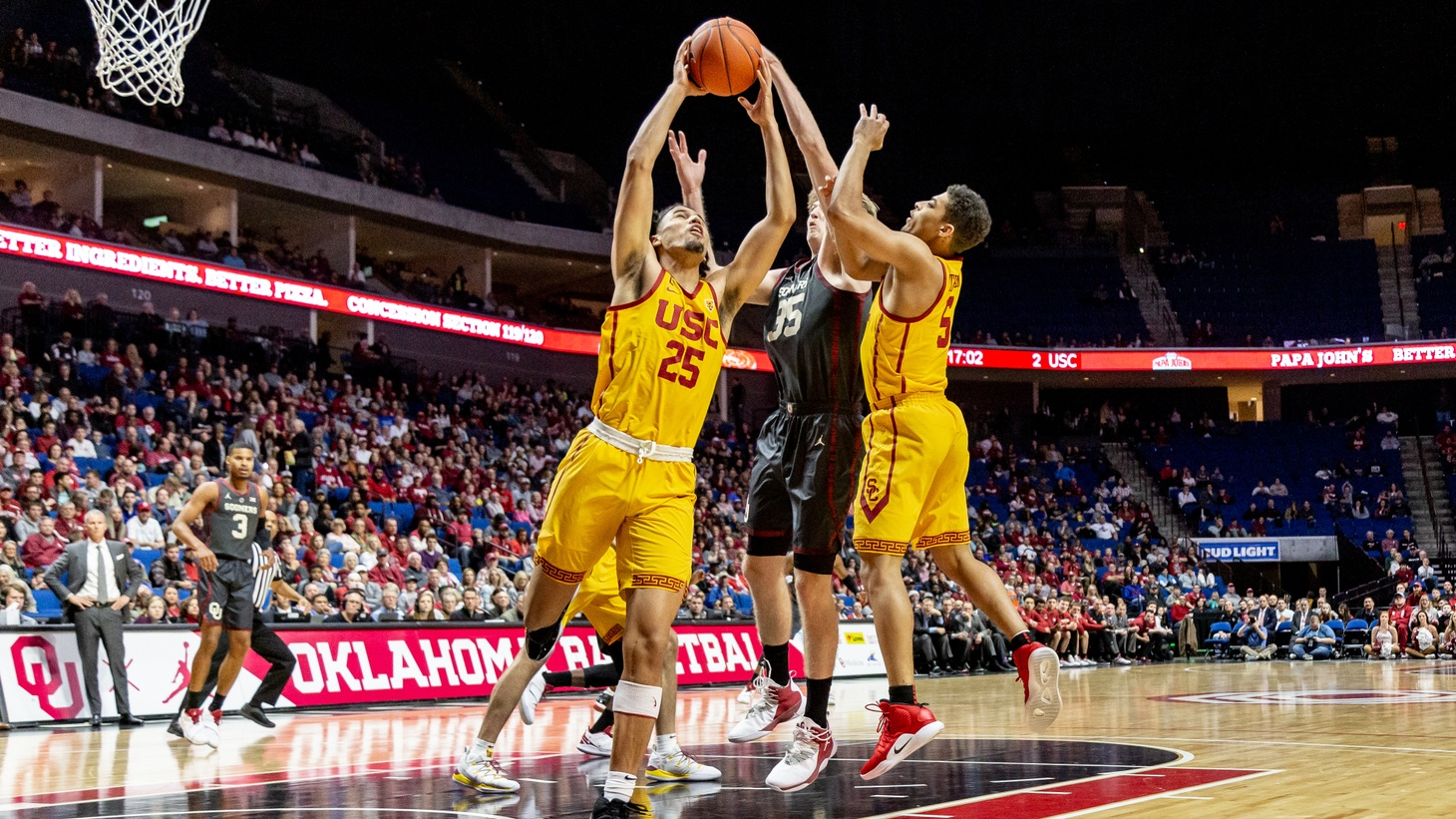 During an NCAA basketball game between USC and Ohio University, Tulsa, USC forward Bennie Boatwright (25) grabs the rebound against OU forward Brady Manek (35). December 15, 2018. The Supreme Court ruled on June 21, 2021 that colleges can't ban athletes from receiving small education-related payouts.