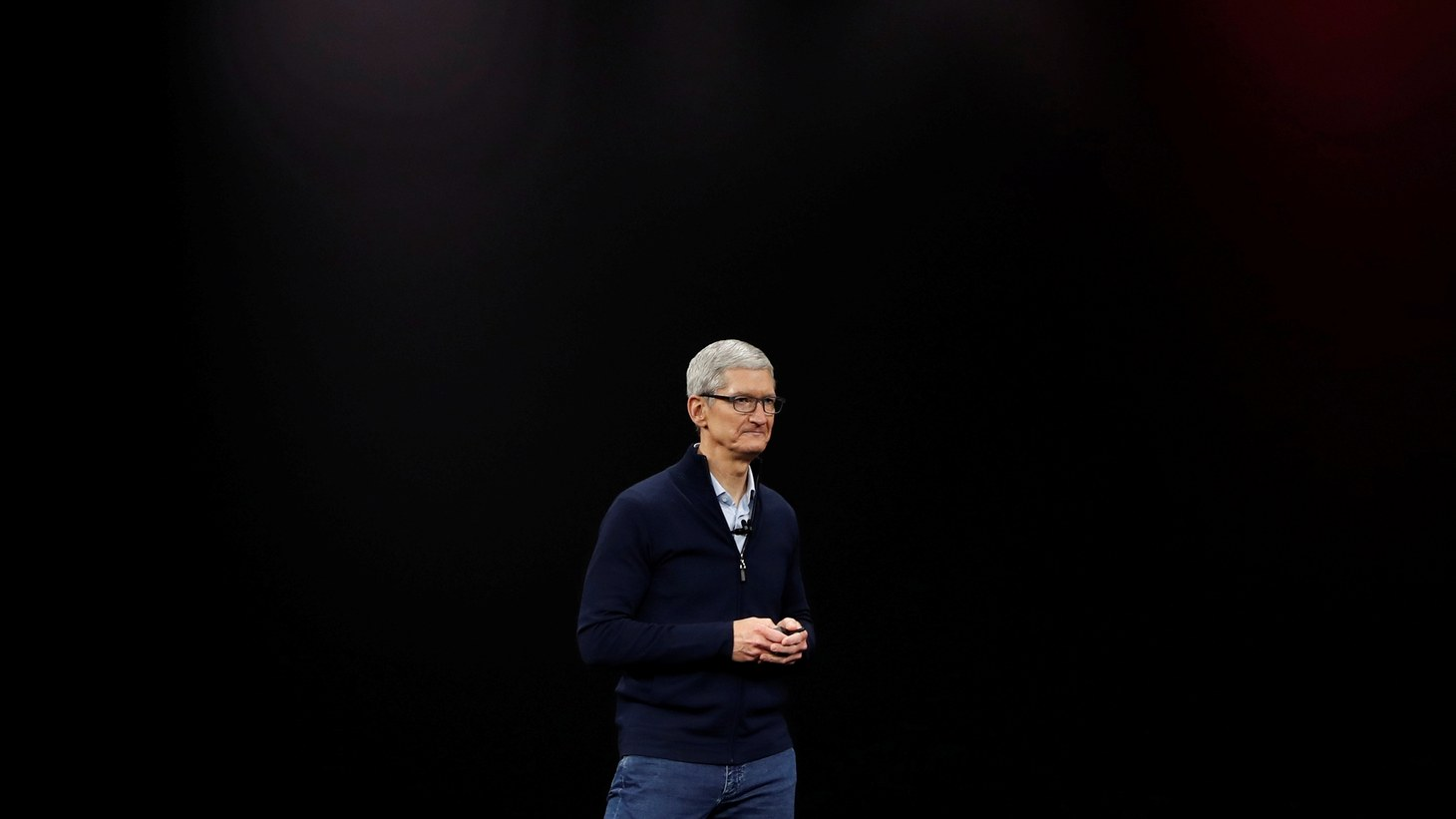 Tim Cook, CEO of Apple, speaks about Apple TV during a launch event in Cupertino, California, U.S. September 12, 2017.