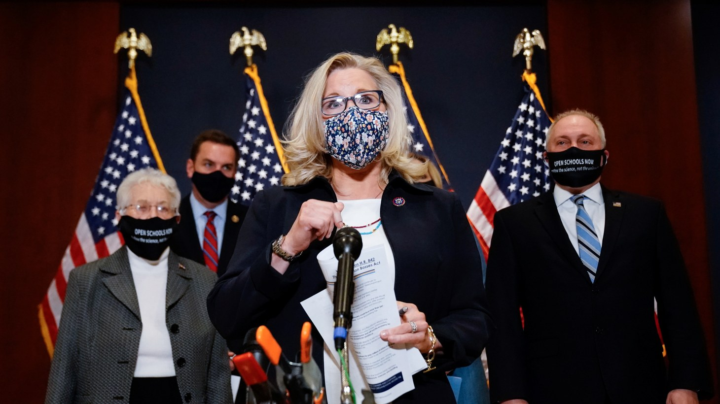Liz Cheney (R-WY) participates in a news conference with House Republican leadership in the U.S. Capitol in Washington, U.S., March 9, 2021.