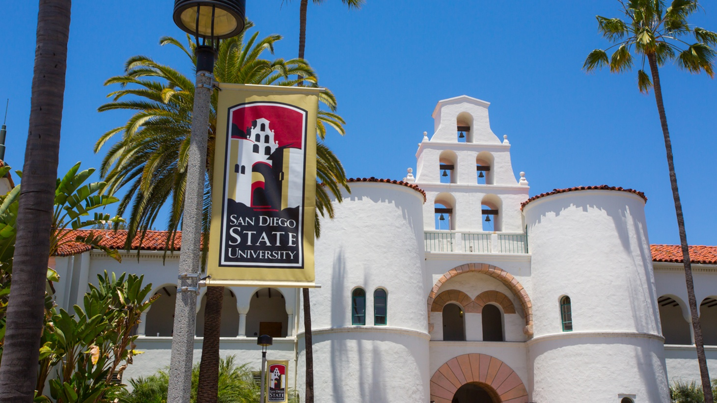 Hepner Hall on campus at SDSU in San Diego, California.