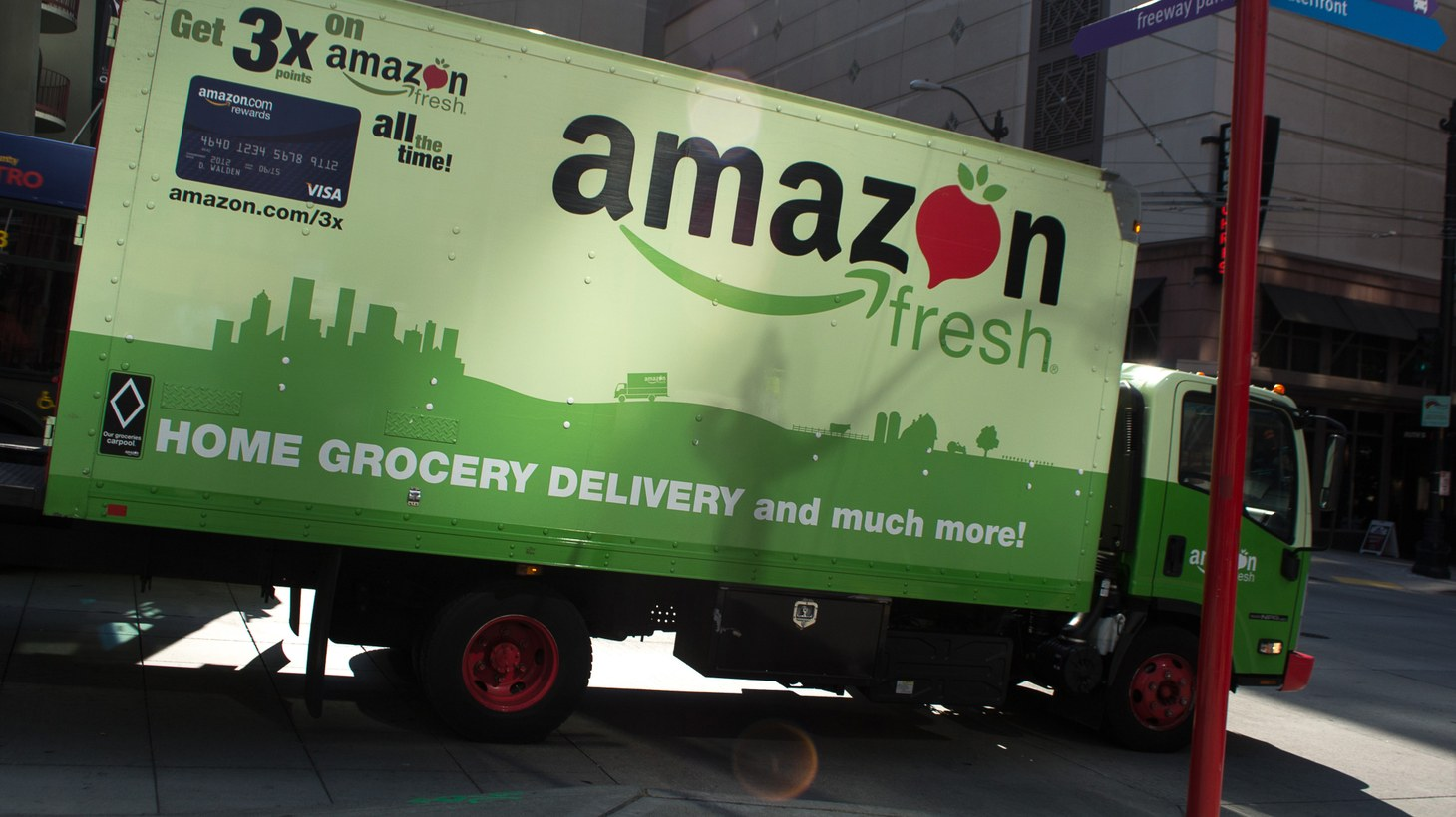 A delivery truck from Amazon Fresh.