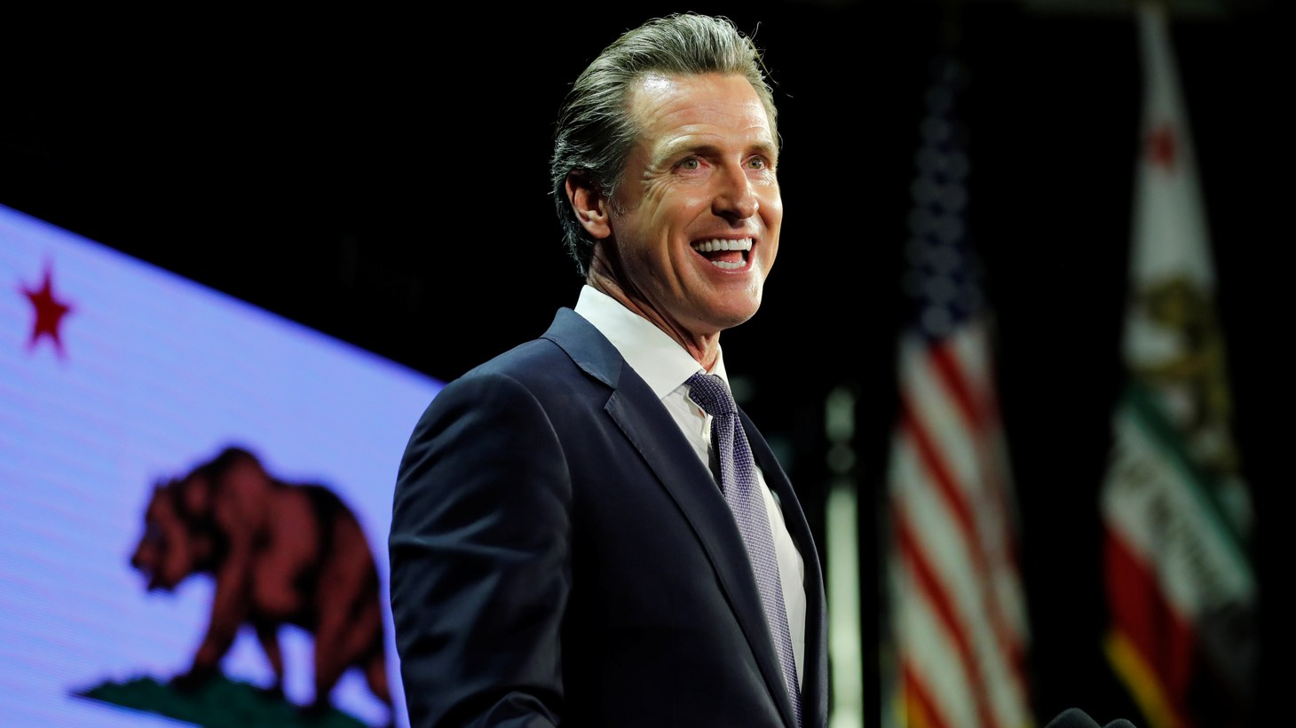 Gavin Newsom speaks after being elected governor of the state during an election night party in Los Angeles, California, U.S. November 6th, 2018.
