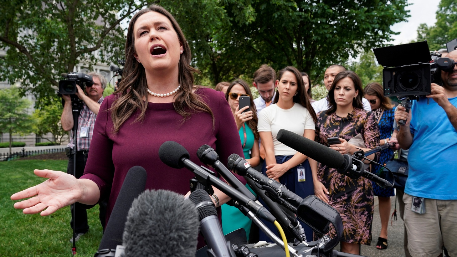 White House Press Secretary Sarah Sanders speaks on Special Counsel Robert Mueller's statement about his report into Russia's role in the 2016 U.S. election and any potential wrong doing by President Donald Trump at the White House in Washington, U.S., May 29, 2019.