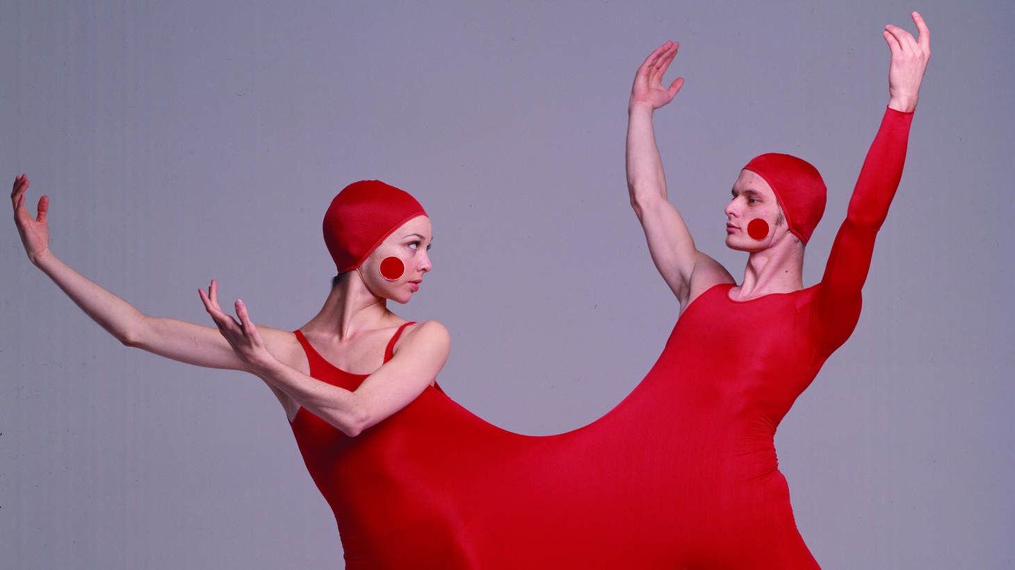 "Dancers Loretta Livingston and Kurt Weinheimer in ""duotard"" costume designed by Rudi Gernreich for the Lewitzky Dance Company's Inscape production, 1976."