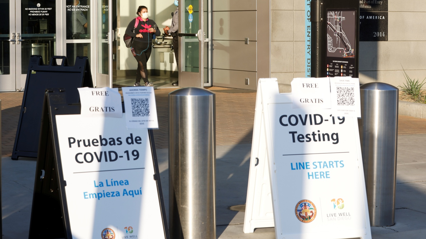 Signs for COVID-19 testing face travelers entering the United States from Mexico at the San Ysidro pedestrian border. San Diego County looks to target essential workers who cross into the United States each day during the outbreak of coronavirus disease (COVID-19). Photo taken in San Diego, California, U.S., August 14, 2020.