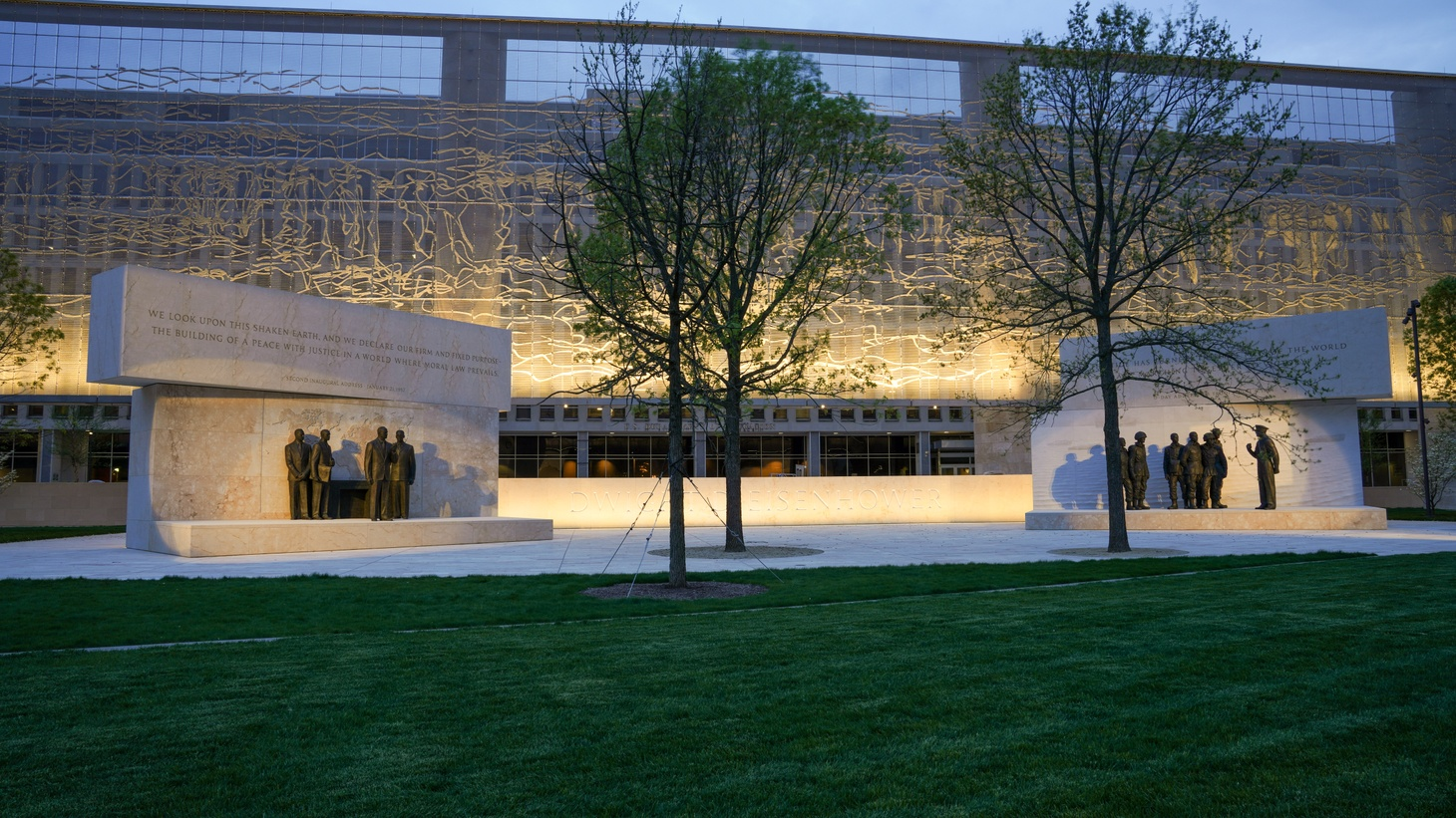 Architect Frank Gehry's new Dwight D. Eisenhower memorial spans a four-acre park near Capitol Hill in Washington D.C.