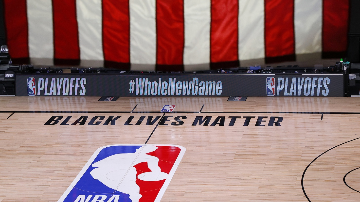 An empty court and bench is shown following the scheduled start time in game five of the Eastern Conference First Round between the Milwaukee Bucks and the Orlando Magic during the 2020 NBA Playoffs at AdventHealth Arena at ESPN Wide World Of Sports Complex on August 26, 2020 in Lake Buena Vista, Florida. The Milwaukee Buck have boycotted game five reportedly to protest the shooting of Jacob Blake in Kenosha, Wisconsin.