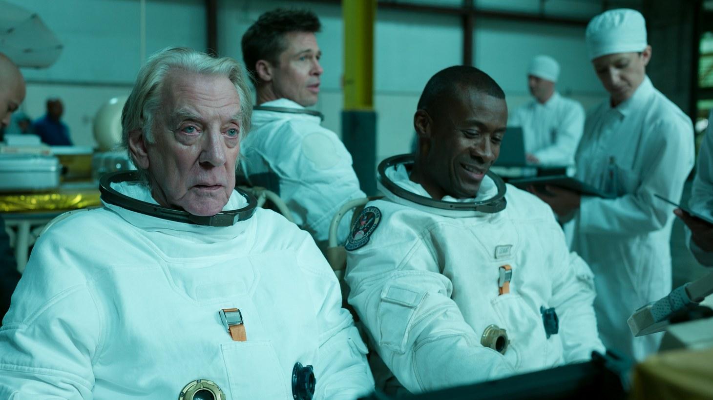 "Donald Sutherland, Brad Pitt and Sean Blakemore star in ""Ad Astra."""