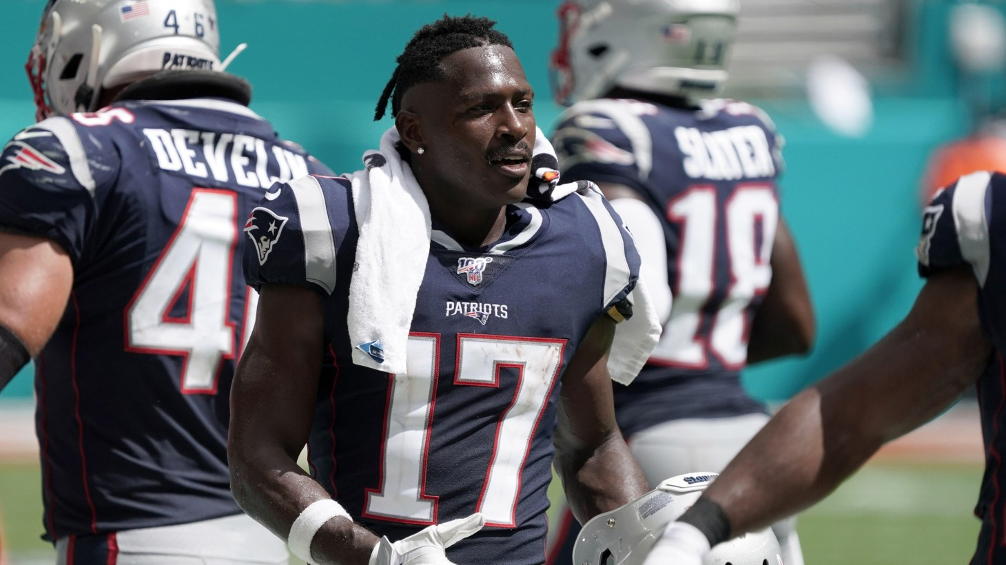New England Patriots wide receiver Antonio Brown (17) watches from the sidelines in the second half against the Miami Dolphins at Hard Rock Stadium. The Patriots defeated the Dolphins 43-0. Sep 15, 2019; Miami Gardens, FL, USA.
