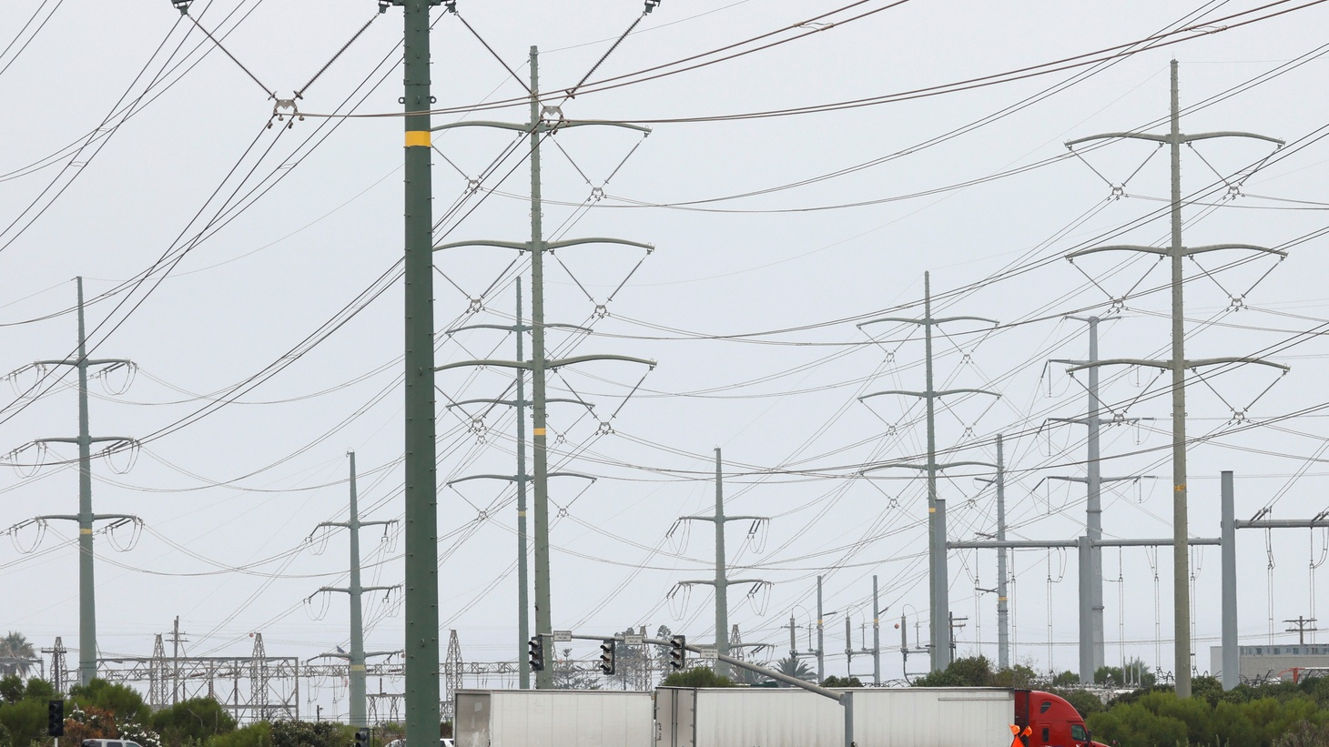 Power lines are shown as California consumers prepare for more possible outages following weekend outages to reduce system strain during a brutal heat wave amid the outbreak of coronavirus disease (COVID-19) in Carlsbad, California, U.S., August 17, 2020.