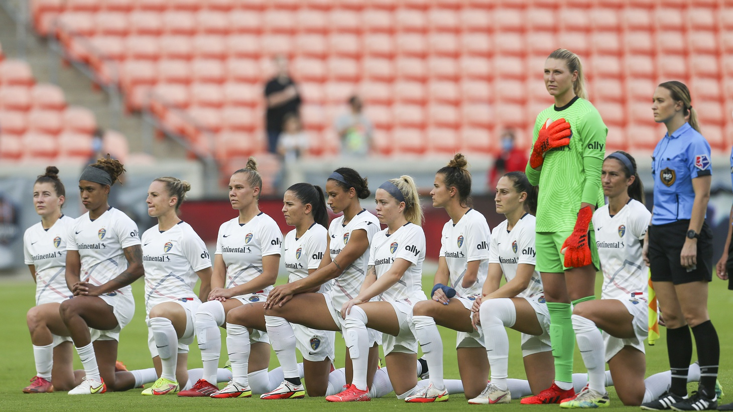 The North Carolina Courage kneel to protest the sexual abuse issues plaguing the women's league during a NWSL soccer match at BBVA Stadium, Houston, Texas, USA, Oct 10, 2021.