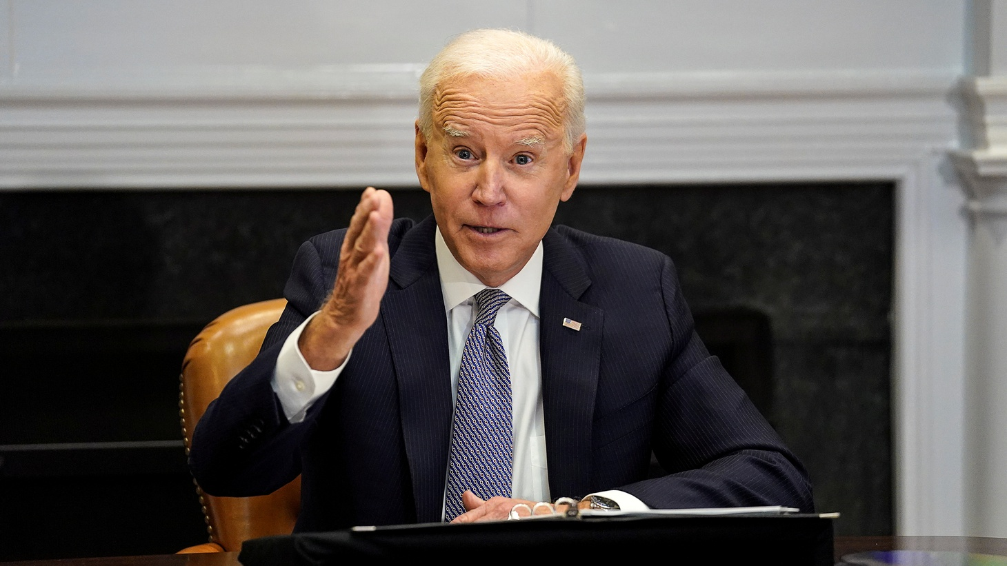 U.S. President Joe Biden speaks as he participates in the virtual CEO Summit on Semiconductor and Supply Chain Resilience from the Roosevelt Room at the White House in Washington, U.S., April 12, 2021.