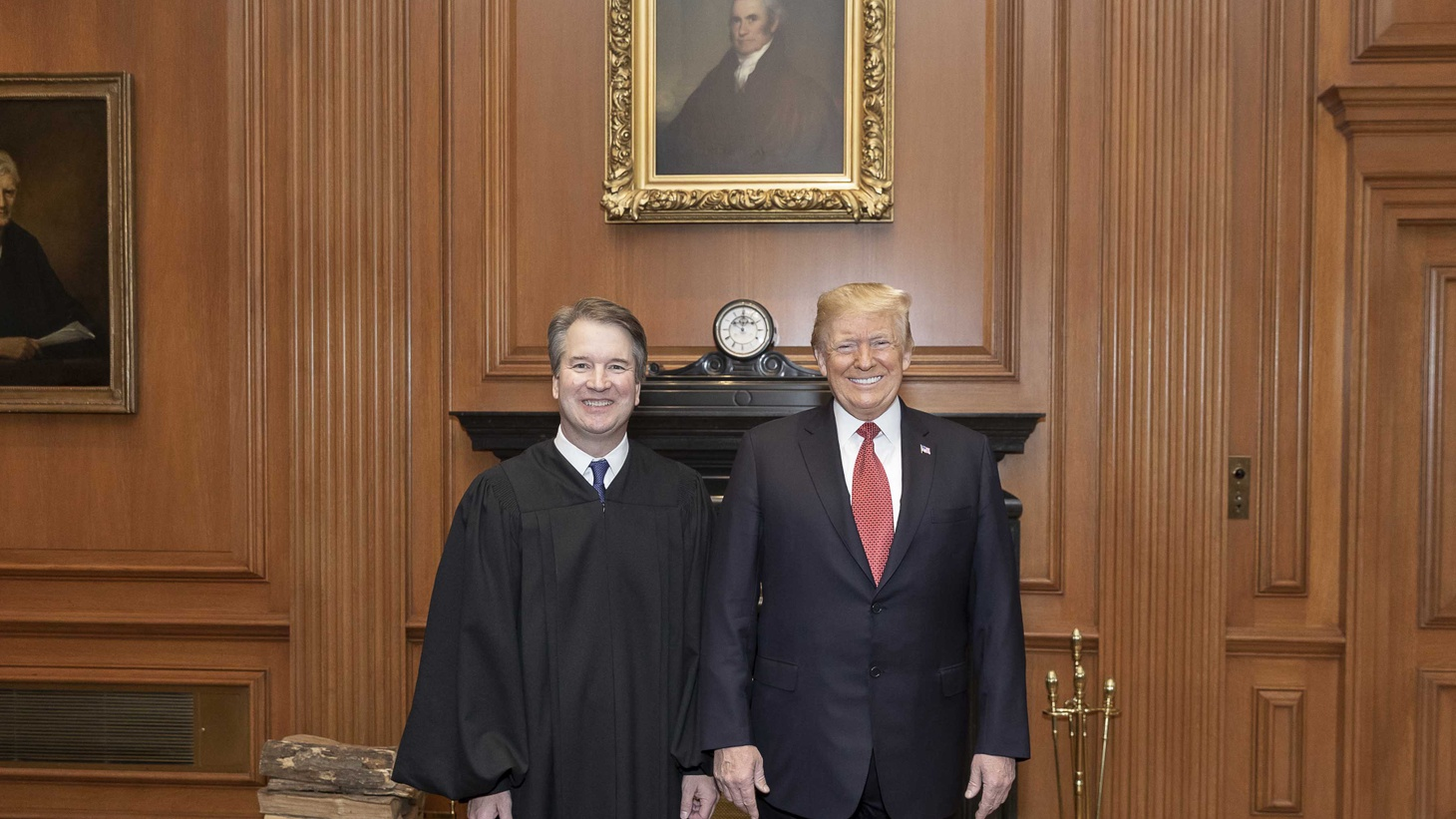 President Donald J. Trump and Supreme Court Justice Brett Kavanaugh pose for photos Thursday, Nov. 8, 2018, during the investiture of Justice Kavanaugh at the Supreme Court of the United States in Washington, D.C.