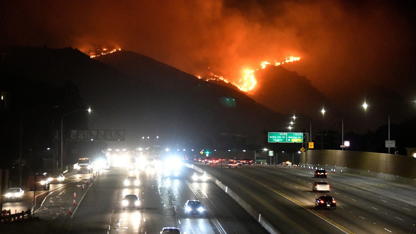 The Getty Fire burns next to the 405 freeway in the hills of West Los Angeles, California, U.S. October 28, 2019.