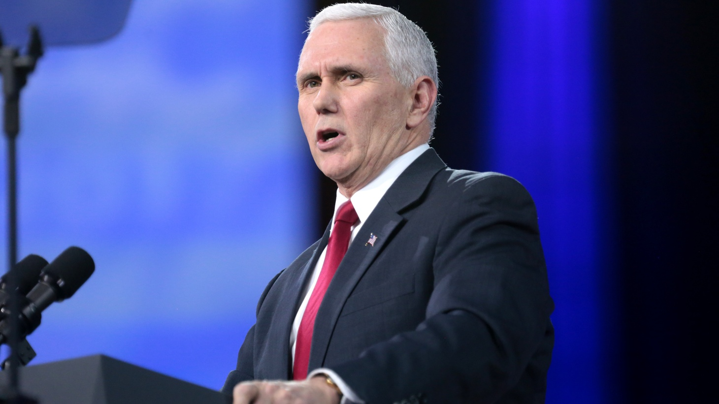 Vice President Mike Pence speaking at the 2017 Conservative Political Action Conference (CPAC) in National Harbor, Maryland.