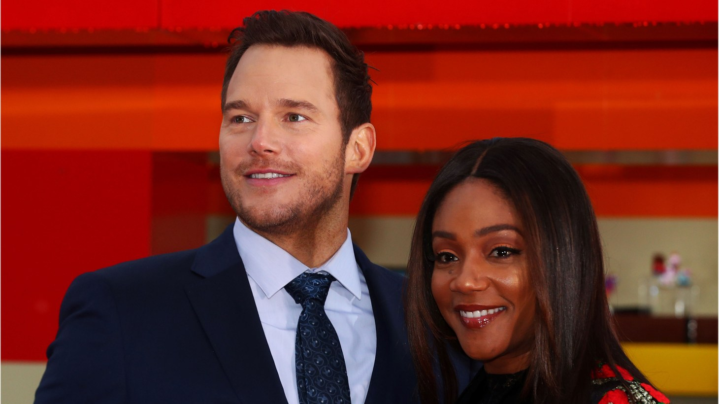 Chris Pratt and Tiffany Haddish pose during a photocall to promote the forthcoming film 'Lego Movie 2' in London, Britain February 1st, 2019.