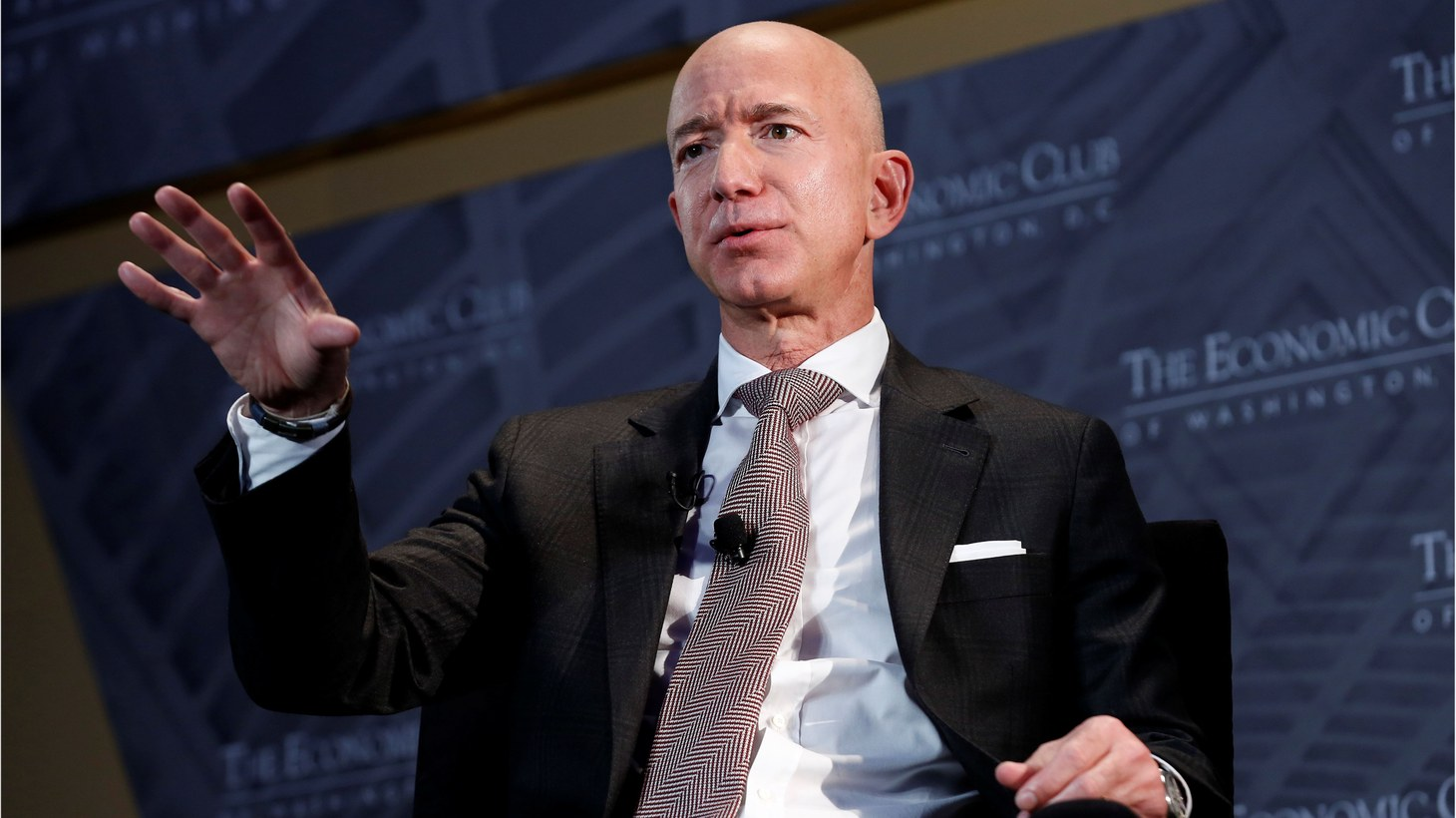 "Jeff Bezos, president and CEO of Amazon and owner of The Washington Post, speaks at the Economic Club of Washington DC's ""Milestone Celebration Dinner"" in Washington, U.S., September 13th, 2018."