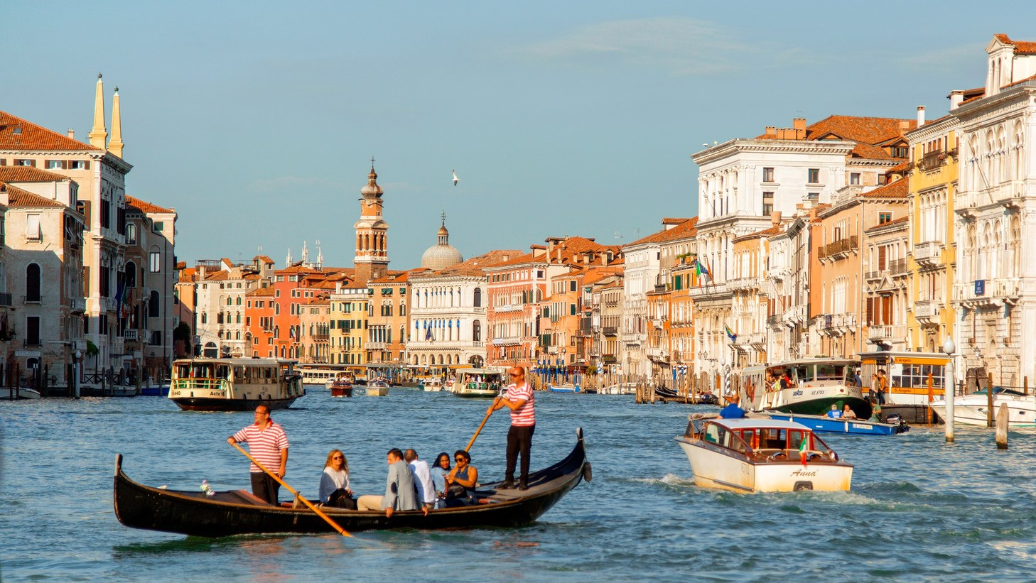 One of Venice's iconic gondola on the Grand Canal.