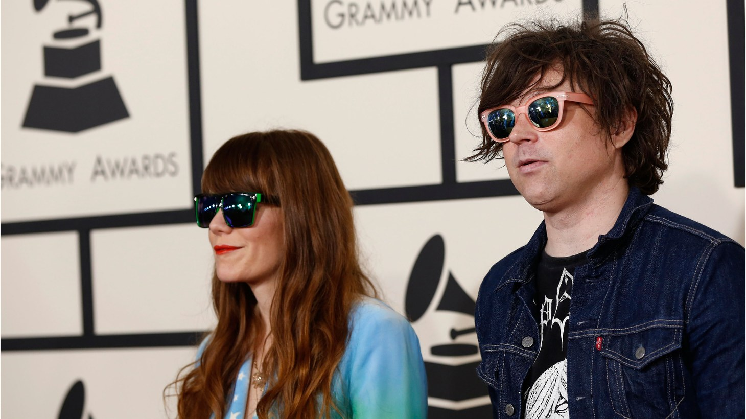 Singers Jenny Lewis and Ryan Adams arrive at the 57th annual Grammy Awards in Los Angeles, California, February 8th, 2015.