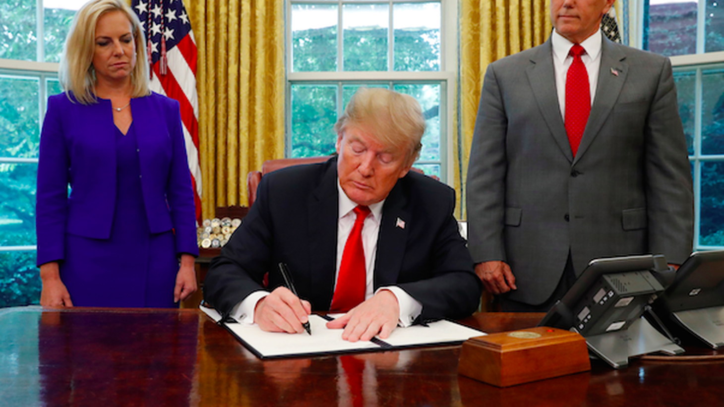 "Today President Trump signed an executive order banning family separations at the border. His ""zero tolerance"" immigration policy caused the separations in the first place."