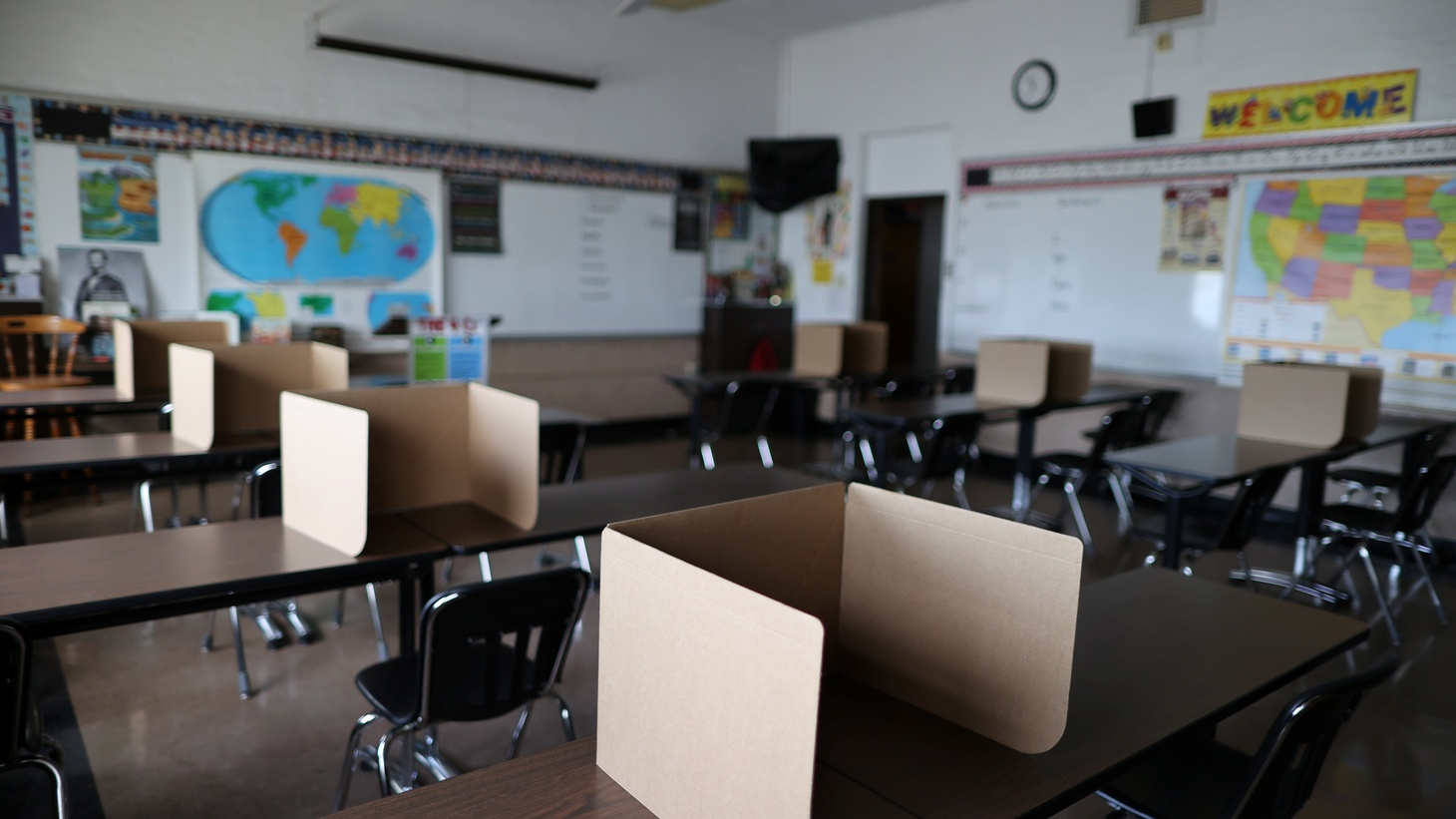 Social distancing dividers for students are seen in a classroom at St. Benedict School, amid the outbreak of the coronavirus disease (COVID-19), in Montebello, near Los Angeles, California, U.S., July 14, 2020.