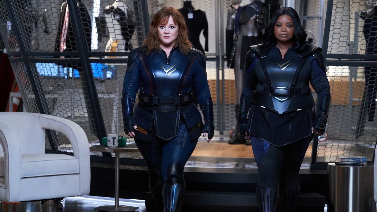 """Melissa Mccarthy as Lydia (left) and Octavia Spencer as Emily (right) in """"Thunder Force."""""""