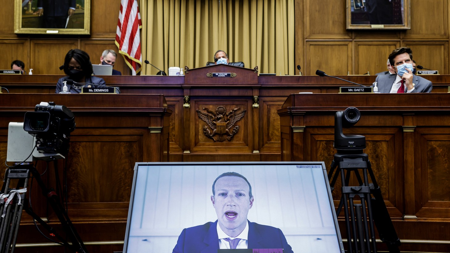 "Facebook CEO Mark Zuckerberg speaks via video conference during a hearing of the House Judiciary Subcommittee on Antitrust, Commercial and Administrative Law on ""Online Platforms and Market Power,"" on Capitol Hill, in Washington, U.S., July 29, 2020."