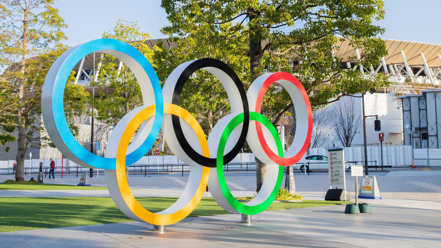 The Olympic symbol is installed in front of the national stadium in Tokyo, Japan, March 17, 2021.